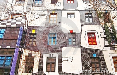 Famous and bizarre apartment blocks by architect Friedrich Hundertwasser Editorial Photo