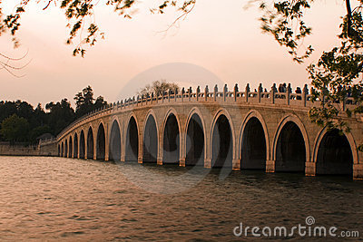 Famous bridge in Beijing, at sunset