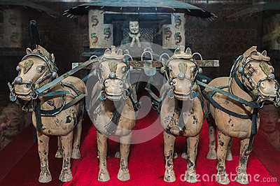 famous bronze chariot in xian china stock images image. Black Bedroom Furniture Sets. Home Design Ideas
