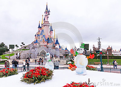Famous castle in the Disneyland Paris in the winter day. France. Editorial Stock Photo