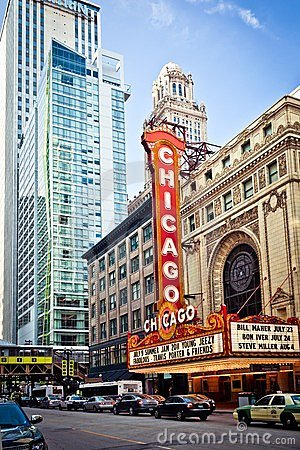 The famous Chicago Theater in Chicago, Illinois. Editorial Photography