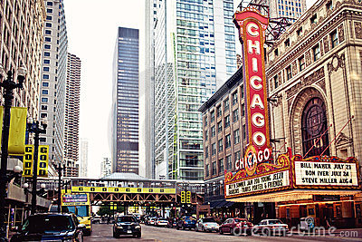 The famous Chicago Theater in Chicago, Illinois. Editorial Photo
