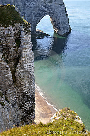 Famous cliffs of Etretat in France