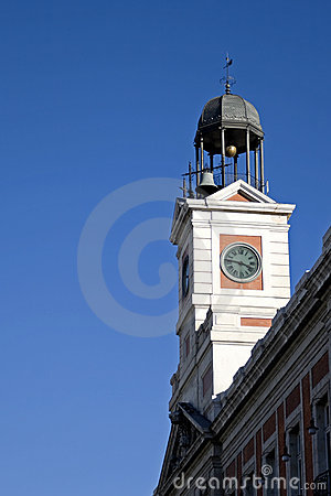 Famous clock tower in Puerta del Sol