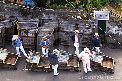 Famous downhill sledge trip in Funchal, Madeira Editorial Stock Photo
