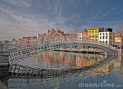 Famous dublin landmark ha penny bridge ireland