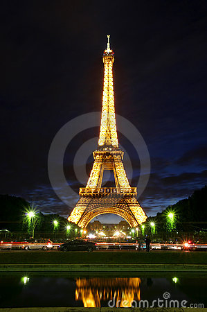 Famous Eiffel Tower with illumination on in Paris. Editorial Stock Photo