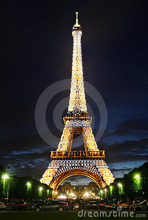 Famous Eiffel Tower with illumination on in Paris. Editorial Photo
