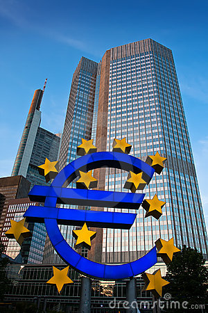 Famous euro sign in Frankfurt Editorial Photography