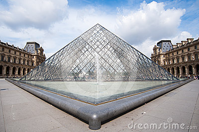 The famous glass pyramid of louvre museum Editorial Stock Image