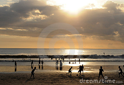 Famous Kuta Beach Bali sunset