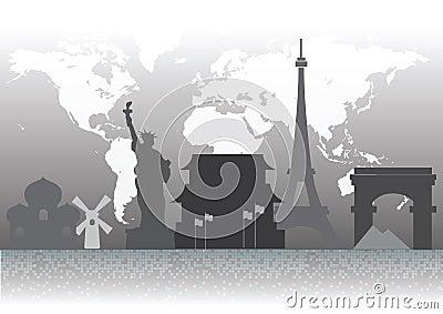 Famous landmark silhouettes