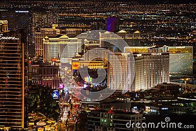 Las Vegas Strip at Night Editorial Photo