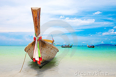 Famous longtail boats off the coast of Thailand