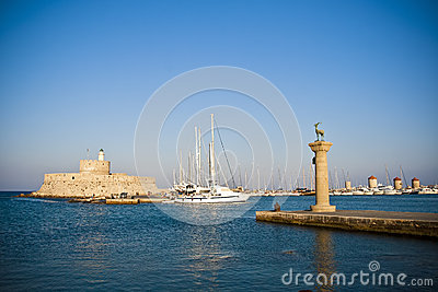 Mandraki harbor, Rhodes, Greece