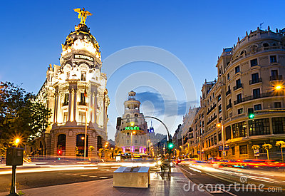 The famous Metropolis Building of Gran Via, Madrid Editorial Stock Image