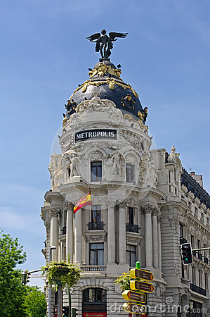 The famous Metropolis Building of Gran Via, Madrid Editorial Photography