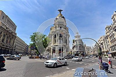 The famous Metropolis Building of Gran Via, Madrid Editorial Image