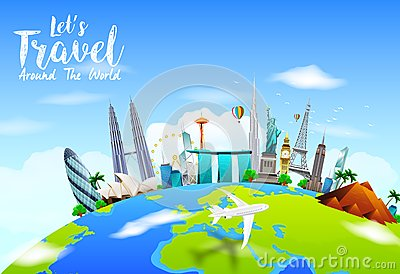 Famous monuments of the world on planet earth on blue for Les monuments les plus connus