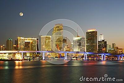 Famous Night Scene - Downtown Miami Florida