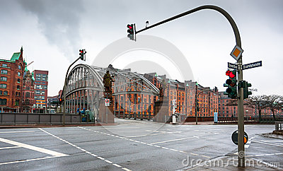Famous old Speicherstadt in Hamburg