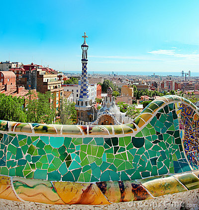 The famous Park Guell Editorial Photography
