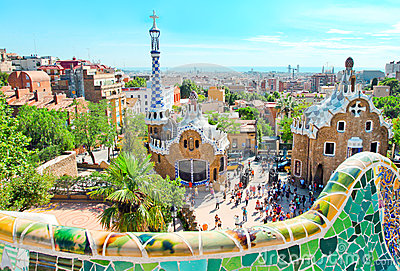 The famous Park Guell in Barcelon Editorial Photo