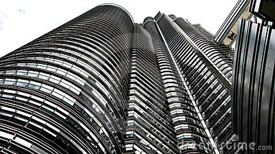Famous Petronas Twin Towers from worm`s-eye view