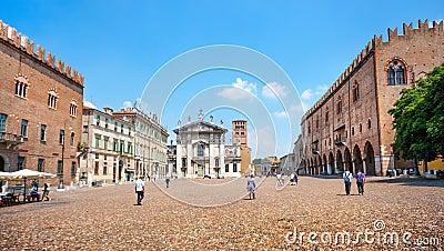Famous Piazza delle Erbe in Mantua, Lombardy, Italy