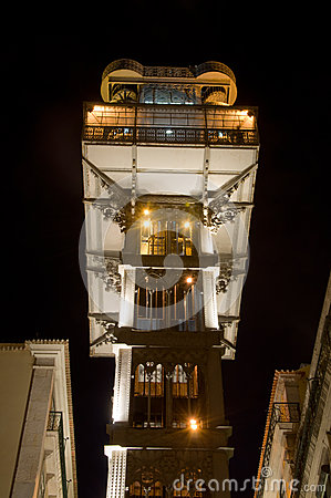 Famous Portuguese elevator at night