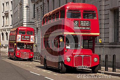Famous red double-decker London buses Editorial Photography
