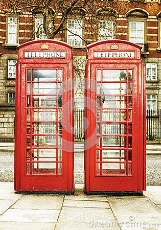 The famous  red phone cabins in London