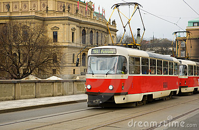 Famous red tram in Prague