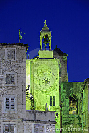 Famous Romanesque tower clock in Split