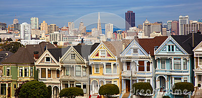 Famous row houses in San Francisco with skyline