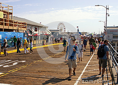 Famous Santa Monica Pier Boardwalk Editorial Stock Image