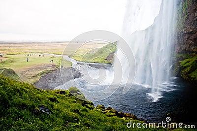 Famous Seljalandsfoss waterfall, Iceland