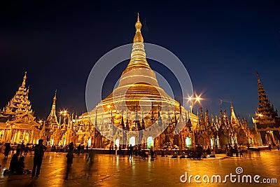 Famous Shwedagon Pagoda in Yangon, Myanmar