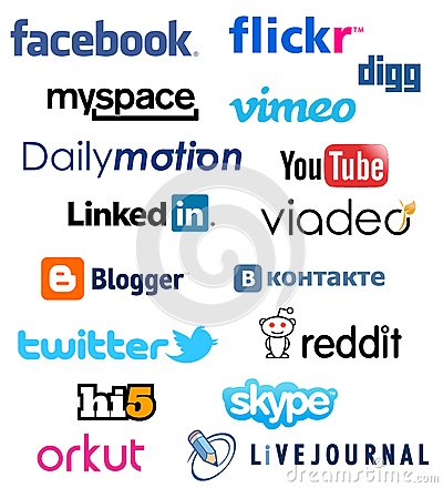 Famous Social Network Logo Collection Editorial Stock Image