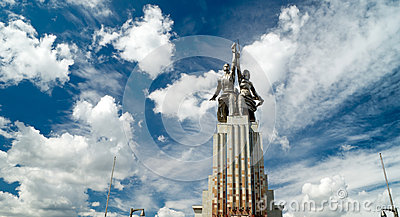 Famous soviet monument Worker and Kolkhoz Woman
