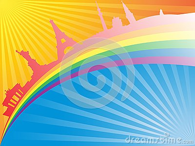 Famous statues on rainbow