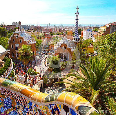 The Famous Summer Park Guell in Barcelona