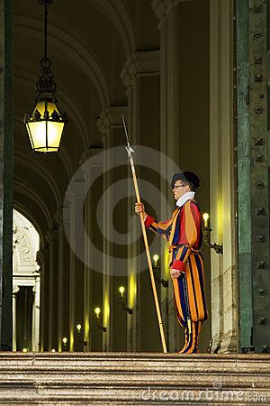 Famous Swiss Guard in Vatican Editorial Stock Photo
