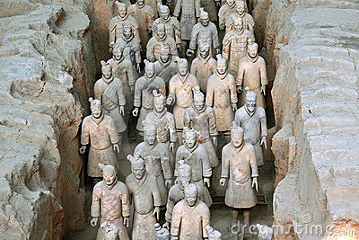 Famous terracotta warriors in Xian, China