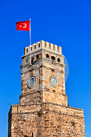 Famous tower in Antalya Turkey
