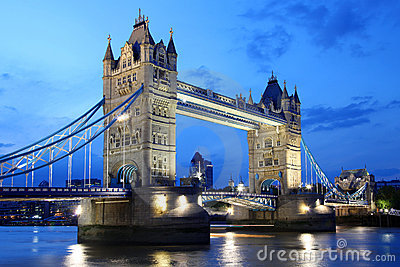 Famous Tower Bridge in evening, London, UK