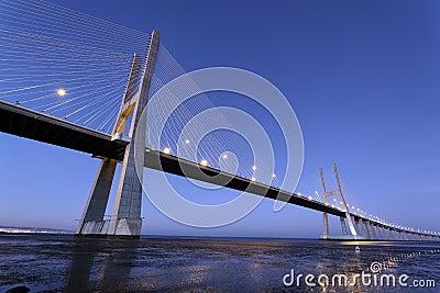 Famous Vasco da Gama bridge by night