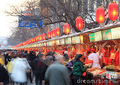 Famous Wangfujing snack street  in Beijing, China Editorial Photography