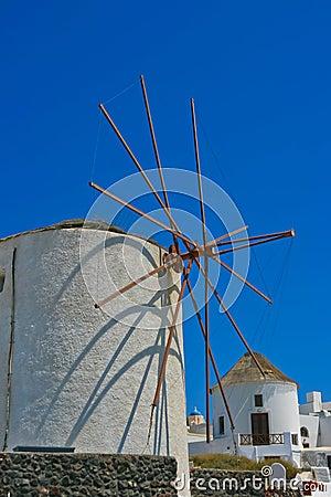 Famous windmill in Oia, Santorini