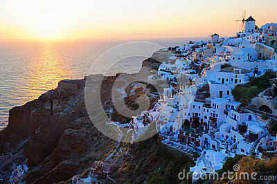 Famous wonderful sunset in Oia